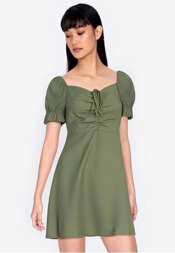 ZALORA BASICS green Sweetheart Neckline Mini Dress 08EC9AA506C059GS_1
