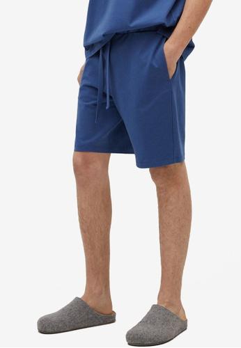 MANGO Man blue Cotton Pyjama Shorts 07B59AA00DDAD1GS_1