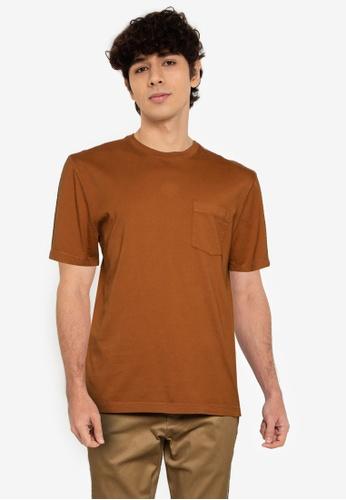 Banana Republic brown Authentic Gmt Dye Pocket Crew Tee EDF7BAA5345BAAGS_1