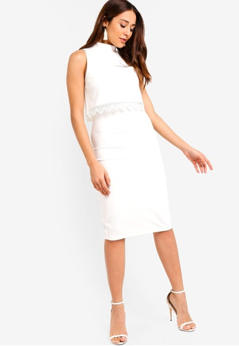 ZALORA white Tiered Sheath Dress E29EEAA37F0E25GS_1