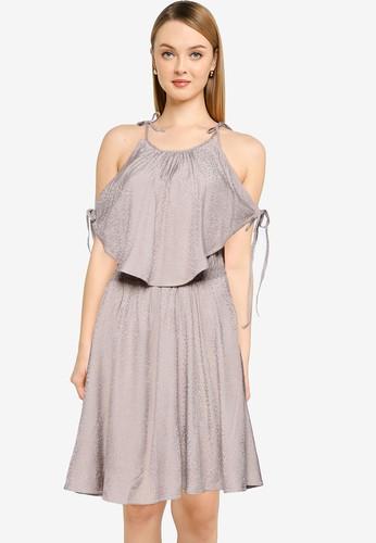 French Connection brown Dua Drape Halter Neck Dress 24839AA146BD67GS_1