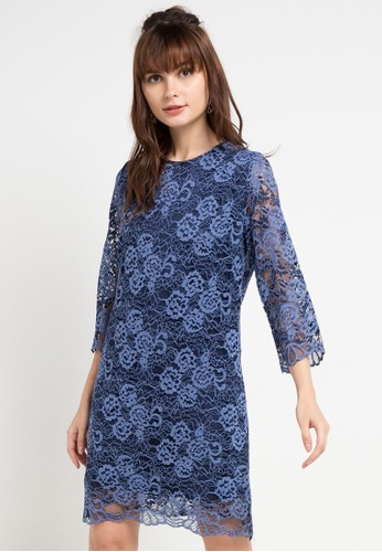 Icons multi and navy 3/4 Sleeve Two Tone Lace Dress 5047BAA8C715F7GS_1