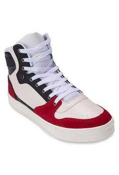 90S Mixed Material High Top Sneakers