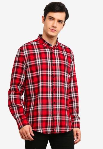OVS 黑色 休閒格紋襯衫 In 棉 8927CAA8C493E9GS_1