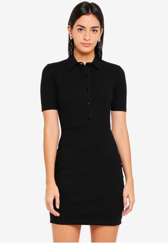 ZALORA black Buttoned Down Dress 6D42DAA0A9CC36GS_1