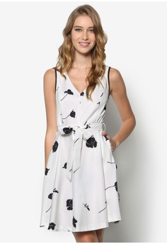 Collection Contrast Plunged Neck Dress