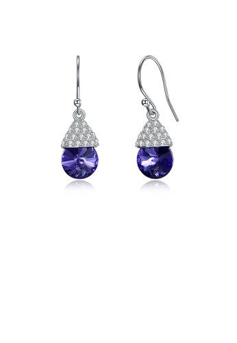 Glamorousky purple 925 Sterling Silver Bright Cute Mushroom Earrings with Austrian Element Crystal 5A005ACBB1CA33GS_1