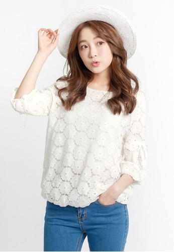 Tokichoi white Flower Lace Blouse E6C8AAAFDF6C50GS_1
