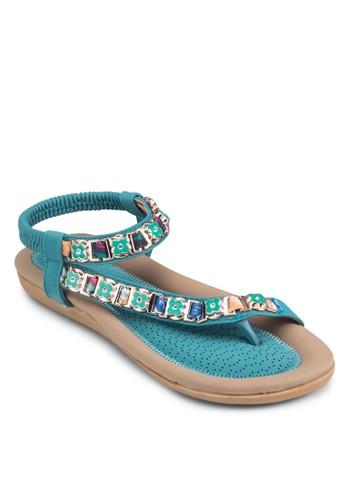 花朵裝飾彈性踝帶涼鞋, 女鞋zalora 衣服評價, 鞋