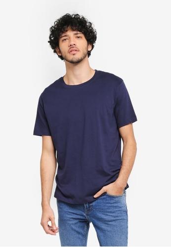 MANGO Man blue and navy Essential Cotton-Blend T-Shirt MA449AA0T1EQMY_1
