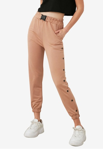 Trendyol brown Side Button Detail Belted Sweatpants 916FAAA64A07D0GS_1