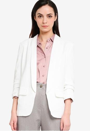 ZALORA WORK white Ruched Sleeves Blazer 4E41DAAC59CB79GS_1