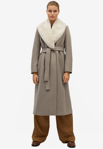 Mango brown Belted Wool Coat 63081AA6FC2DB7GS_1