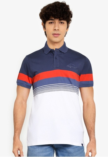 BLEND red and blue and navy Block Stripe Polo Shirt 1277FAA2231A85GS_1