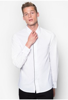 Slim Fit Long Sleeve Shirt With Outline