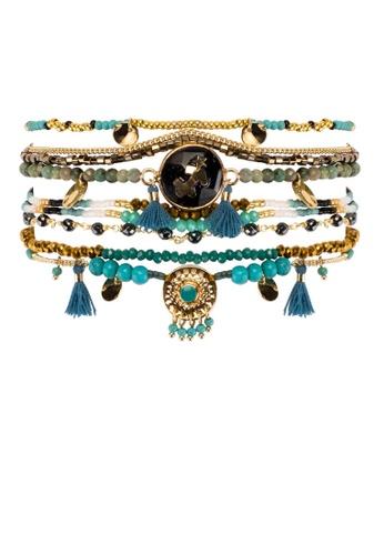HIPANEMA multi Large multi chains beaded bracelet Zodiac turquoise and gold F36CAAC6C35515GS_1