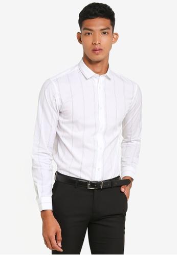 Selected Homme 白色 長袖條紋襯衫 247E5AA90FAE04GS_1