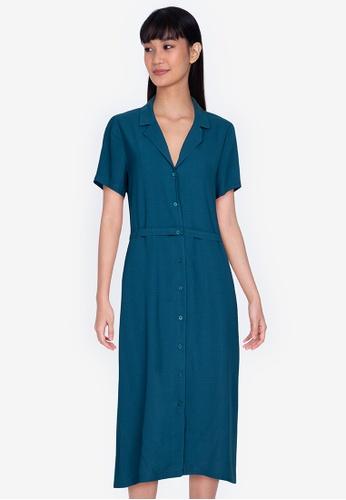 ZALORA BASICS blue Resort Collar Midi Dress 60D41AAC2E7D1BGS_1
