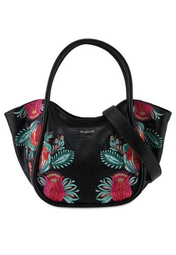 Desigual black Embroidery Tote Bag 1C06DAC530FBC5GS_1