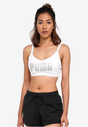 Puma white En Pointe Logo Bra PU549US0SWGUMY_1