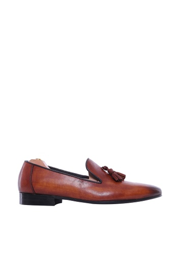 Zeve Shoes brown Zeve Shoes Loafer Slipper - Cognac Tan (Hand Painted Patina) 5C2E3SH8525953GS_1
