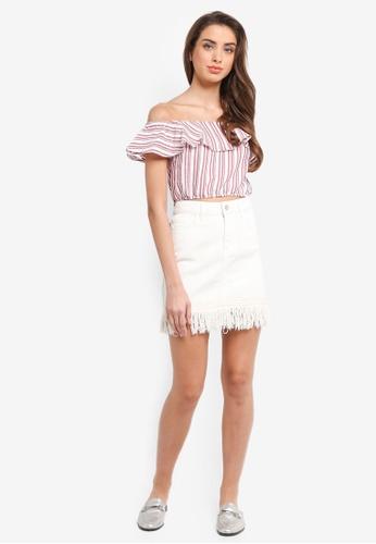 e68711bdb65358 Buy Miss Selfridge Linen Strap Bardot Top
