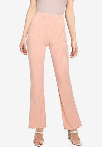 Miss Selfridge pink Lettuce Hem Trousers 19585AA856E6EFGS_1