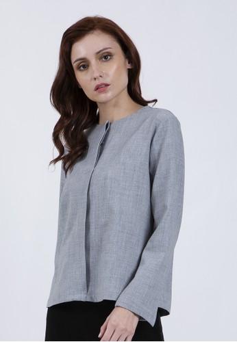 The Executive grey Long Sleeves Blouses 948F1AA95BA9DFGS_1