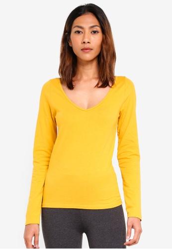 Supre yellow Long Sleeve Longline Deep V Neck Tee 5C6A8AA6B5E83DGS_1
