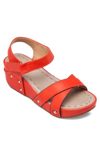 交叉帶扣環楔型esprit outlet 旺角跟涼鞋, 女鞋, 楔形涼鞋