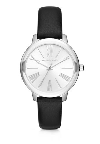 MICHAEL KORS silver Michael Kors Hartman Black Leather Watch MK2518 MI165AC19UHKMY_1