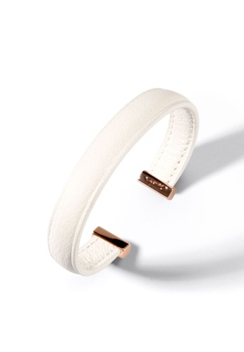 Crudo Leather Craft white Momento Deluxe 925 Silver Bangle - Swan White 8D3FBAC3C0C6B9GS_1