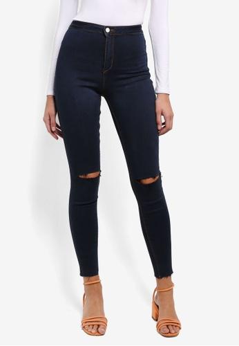 MISSGUIDED blue Vice High Waisted Knee Slash Skinny Jeans BDFA1AA75996D7GS_1