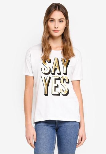 ESPRIT white Metallic Print T-Shirt 5D23CAAE2E5119GS_1