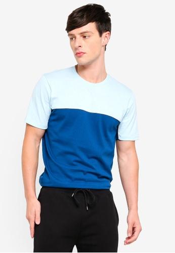 03ec95d746014 Buy Topman Blue Panel Classic Fit T-Shirt Online on ZALORA Singapore
