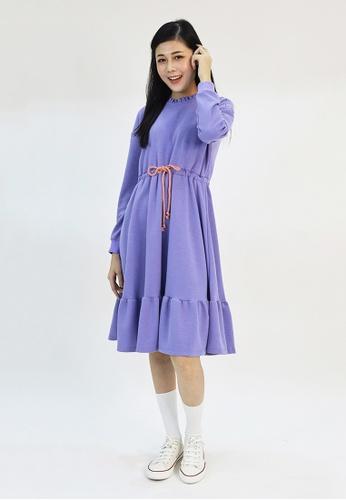 Cheetah purple Cheetah Ladies Long Sleeve Ruffle Midi Dress - CL-19598 B6344AA5BCE18CGS_1