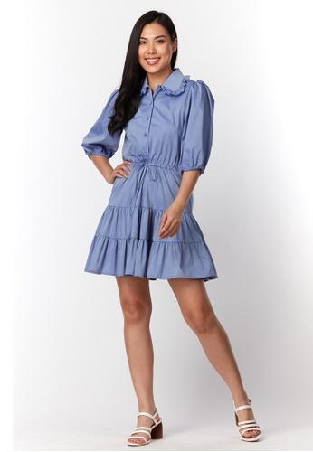 What To Wear blue Tiered Hem Tank Dress in Blue 72409AAB568EF5GS_1