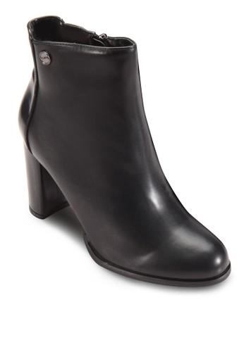 側拉鍊粗跟高zalora 內衣跟短靴, 女鞋, 鞋