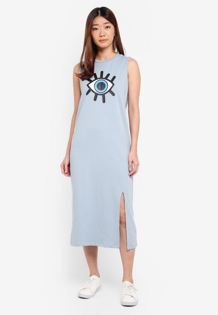 Dress Graphic Slit Blue Midi with Borrowed Dusty High Something EPSdIq6nEw