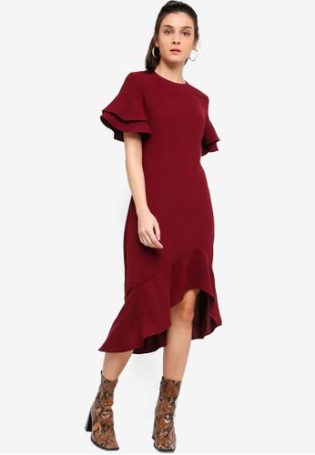 ZALORA red Asymmetric Hem Midi Dress A1974AA772AC5EGS_1