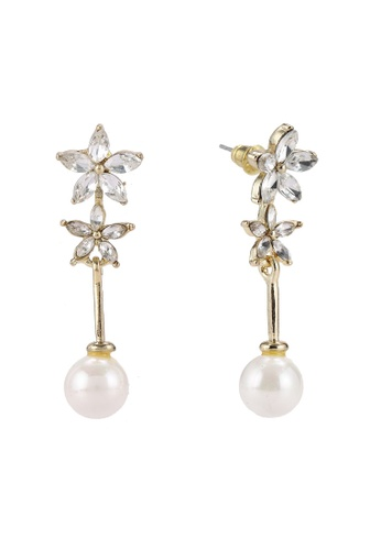 Red's Revenge white Cascading Flower Pearl Premium Dangle Earrings RE144AC0R9Q5MY_1