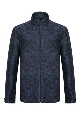Gieves & Hawkes navy LINEN BLEND FLORAL PATTERNED BLOUSON CE5D9AA96F7E9FGS_1