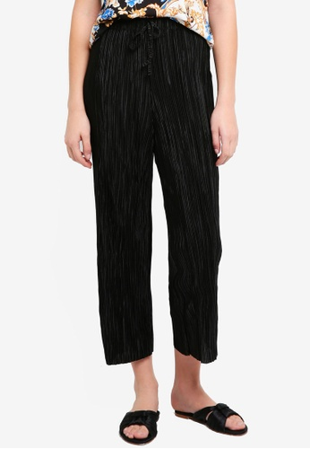 Miss Selfridge 黑色 Black Jog Plisse Crop Trousers 15D1AAABC43102GS_1