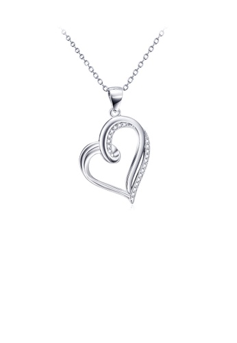 Glamorousky white 925 Sterling Silver Fashion Simple Hollow Heart Pendant with Cubic Zirconia and Necklace 386A3AC829D6D3GS_1