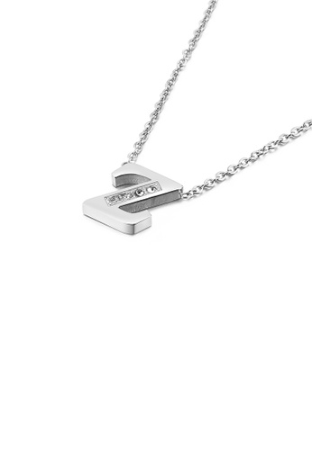Glamorousky white Fashion Personality English Alphabet Z 316L Stainless Steel Pendant with Cubic Zirconia and Necklace 94CBFACB6898C1GS_1