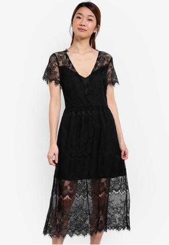 Something Borrowed black Sleeved Lace Midi Dress B4C38AAFEB58E5GS_1
