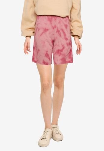 Public Desire pink Tie Dye High Waist Sweat Shorts 42E9AAADDF4081GS_1