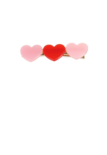 Glamorousky silver Simple and Cute Plated Gold Pink Two-color Heart-shaped Hair Clip A5C9EACD272973GS_1