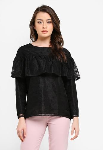 Zalia black Lace Frill Top F32D9AA93DC7FEGS_1