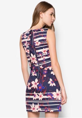 Int 花卉印花層次洋裝, 服飾, 正式洋zalora退貨裝